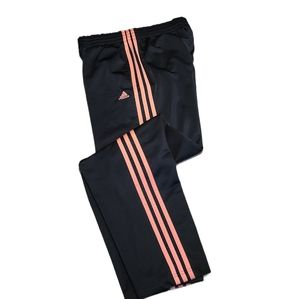 Adidas Women's Black & Pink 3-Stripes Pants sz M